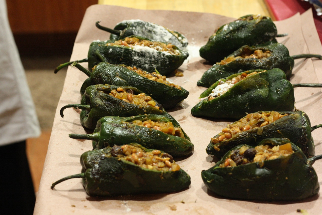 Stuffed chiles en nogada, waiting to be dusted with flour