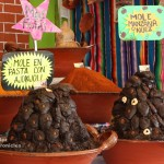 Mounds of artistically arranged mole paste at the Feria Nacional del Mole in San Pedro Atocpan, Mexico.