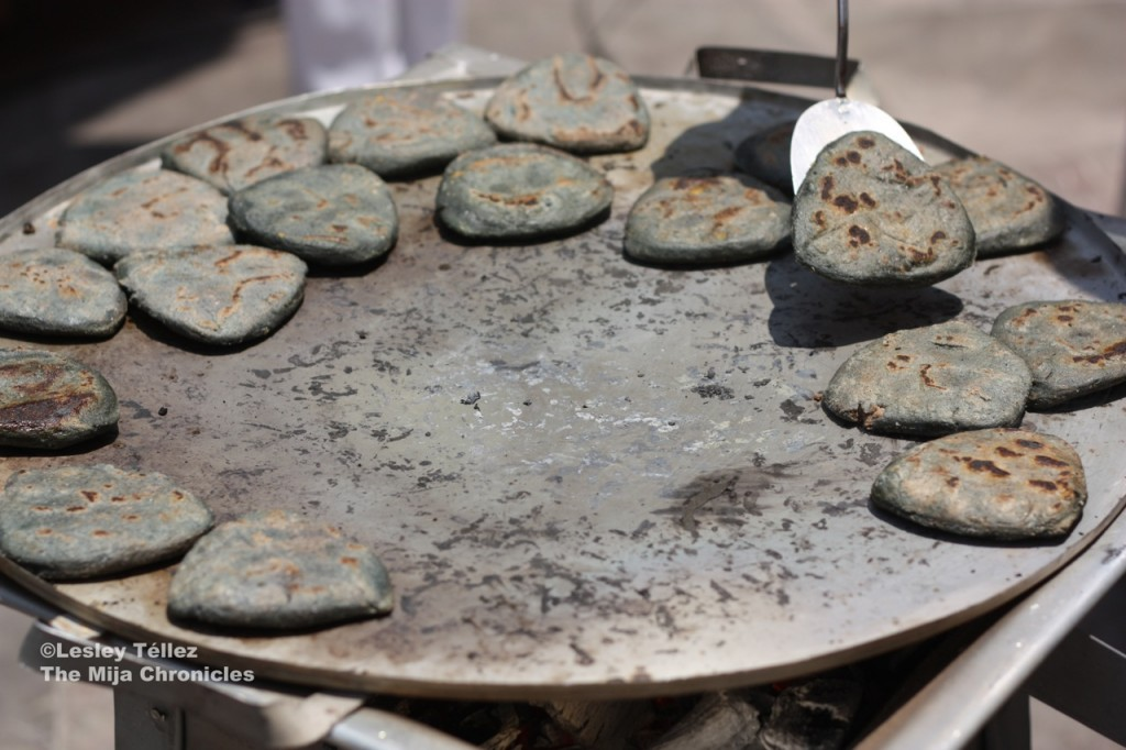 Small blue-corn tlacoyos, also at Puebla's Mole Festival.