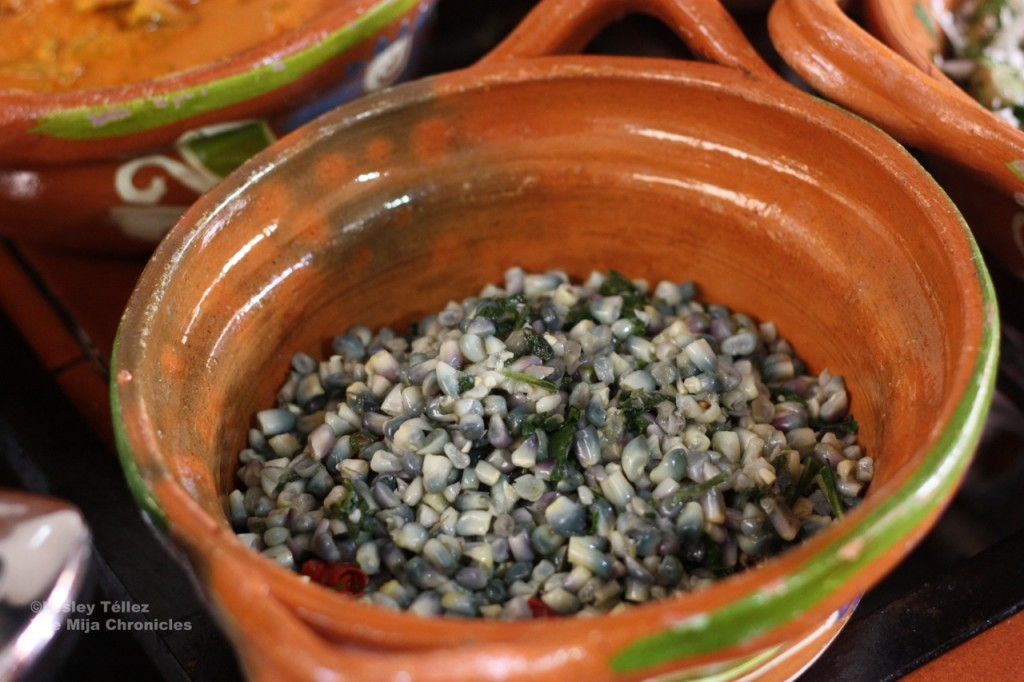 Blue corn esquites with epazote in San Pedro Atocpan, Mexico City.
